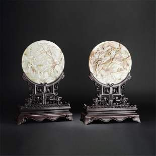 A PAIR OF CHINESE WHITE JADE ROUND TABLE SCREENS