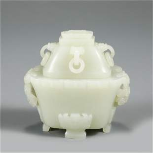 A CHINESE JADE CENSER WITH COVER