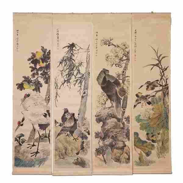 FOUR PANELS OF CHINESE SCROLL PAINTING FLOWERS AND