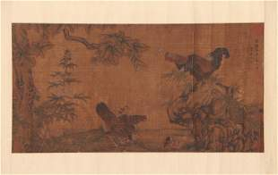 A CHINESE PAINTING OF FLOWERS AND BIRDS