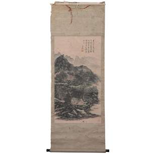 A CHINESE COLORFUL PAINTING OF MOUNTAINS LANDSCAPE