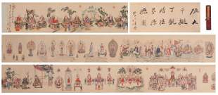 A CHINESE PAINTING OF FIGURE BUDDHA AND CALLIGRAPHY