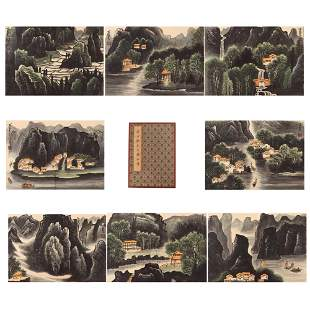 TWENTY PAGES CHINESE ALBUM OF PAINTINGS MOUNTAINS