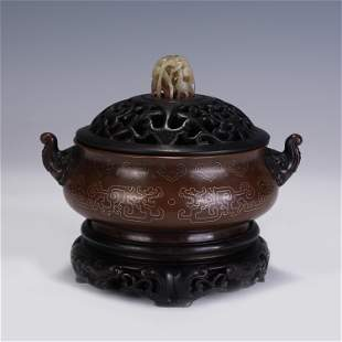 A CHINESE QING STYLE BRONZE INLAID SILVER LINES INCENSE