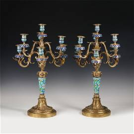 A PAIR OF CHINESE CLOISONNE CANDLEABRAS