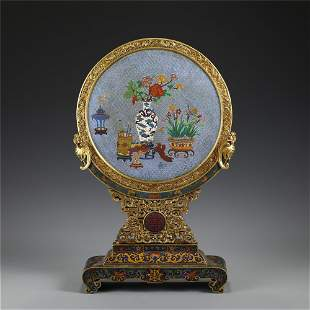 A CHINESE CLOISONNE FLOWER ROUND TABLE SCREEN