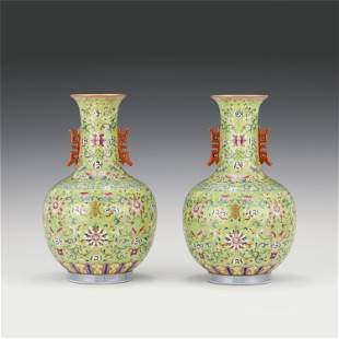 A PAIR OF CHINESE FAMILLE ROSE FLOWER PORCELAIN VASES