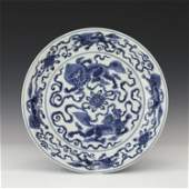 A CHINESE BLUE&WHITE PORCELAIN PLATE/MING DYNASTY