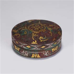 A CHINESE BRONZE MIXED GOLD AND SILVER LIDDED BOX