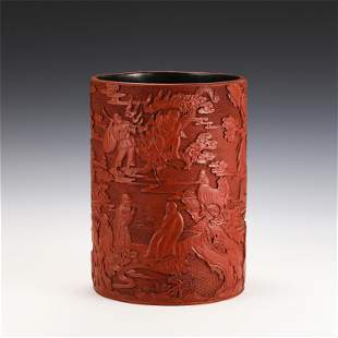 A CHINESE CARVED FIGURE STORY TIXI LACQUER BRUSH POT