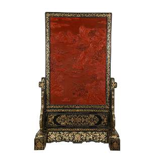 A CHINESE CARVED TIXI LACQUER TABLE SCREEN