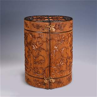 A CHINESE QING STYLE BAMBOOCARVING ROUND TREASURE BOX