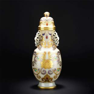 A CHINESE WHITE JADE VIEWS VASE INLAID WITH GOLD