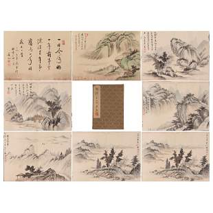 SIXTEEN PAGES CHINESE ALBUM OF PAINTINGS MOUNTAINS