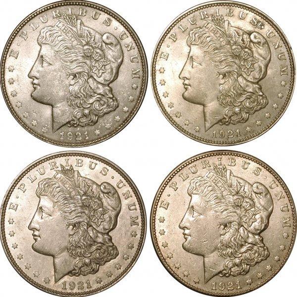 1: 4 MORGAN DOLLARS DATED 1921