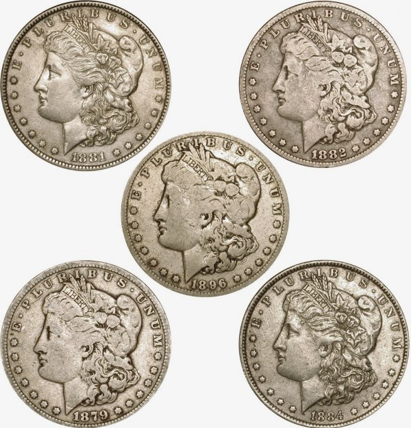 2: 5 DIFFERENT MORGAN DOLLARS - EARLY DATES