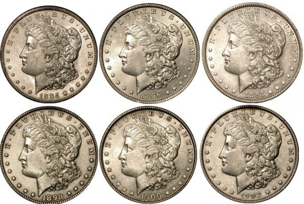 3: 6 DIFFERENT MORGAN DOLLARS - NICE GROUP
