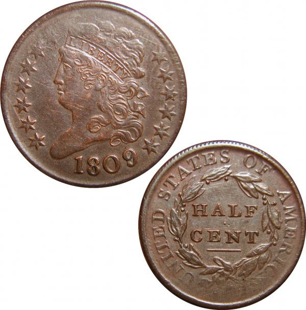 9: 1809/6 HALF CENT - 1809 OVER INVERTED 9 - RARE