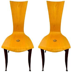 Italian MCM Wooden Chair in the Manner of Umberto Masca