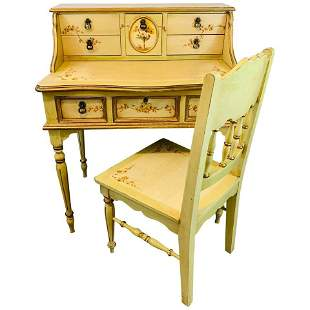 French Hand Painted Lady Desk and Chair
