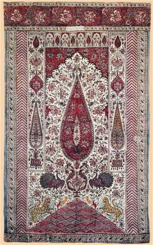 Late 19th Century Persian Textile Block Print Panel