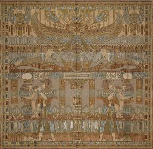 Old Egyptian Silk Panel Tapestry Circa 1940