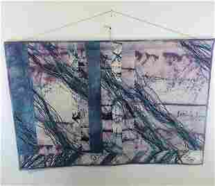 A Vintage Abstract Contemporary Wall Tapestry Signed