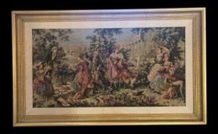 Vintage Gobelin French Style Gilt Framed Tapestry