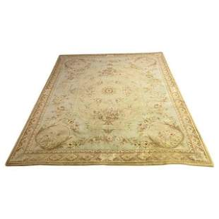 Aubusson Savonnerie Style Green Large Rug or Carpet