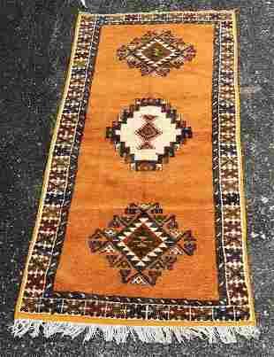 Vintage Tribal Moroccan Mustard Yellow Wool Rug/Carpet