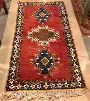 Vintage Tribal Moroccan Red and Blue Wool Rug/ Carpet