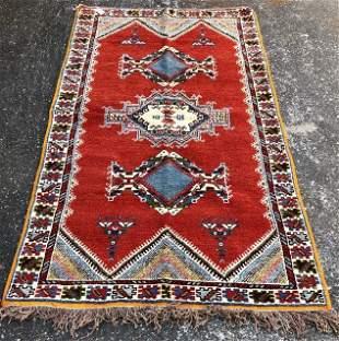 Vintage Moroccan Tribal Red Wool Rug