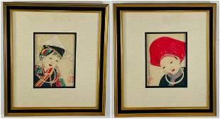 Antique Japanese Asian Women Portrait Etching Print Sig