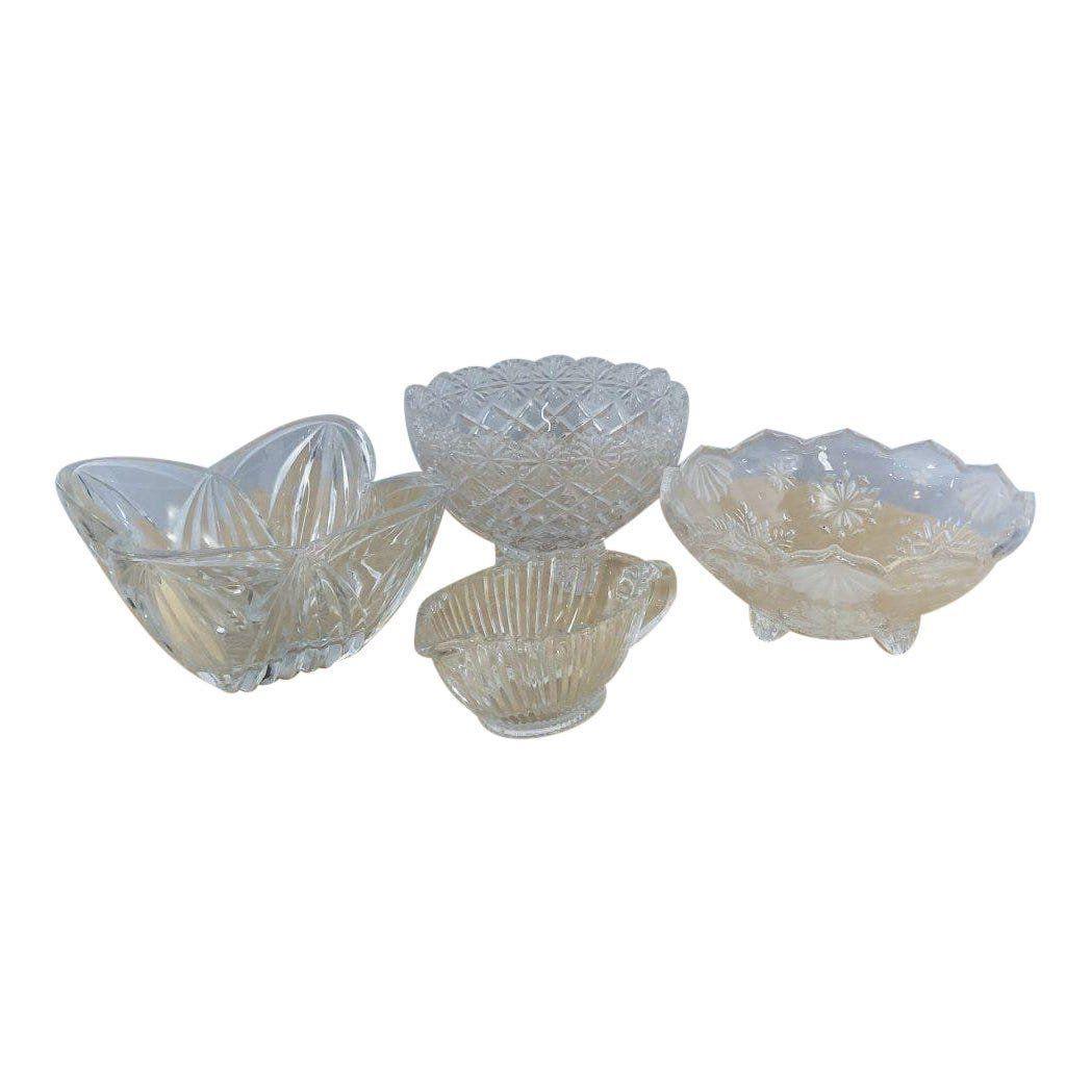 Vintage Quality Cut Crystal Bowl, Set of 4