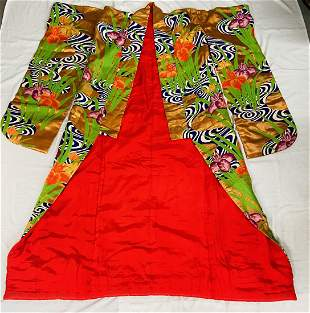 1940 Exceptional Embroidered Japanese Ceremonial Kimono