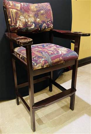 Upholstered Armed Cherry Wood Bar Stool