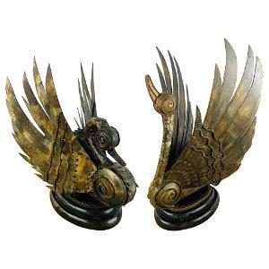 Swan Bronze Brutalist Statue, a Pair