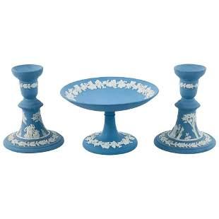 Wedgwood Jasperware Pair of Candleholders and Plate