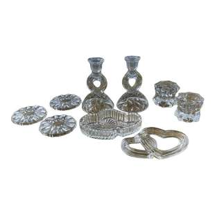 Vintage Crystal Candle Holders and Plates Set of 9