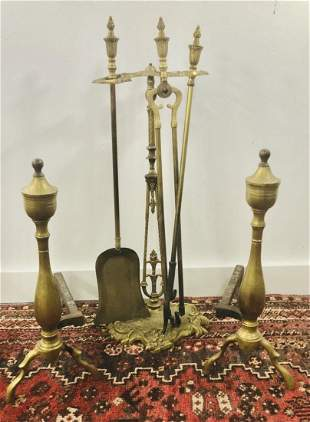 A set of Brass Fireplace Tools with Andirons