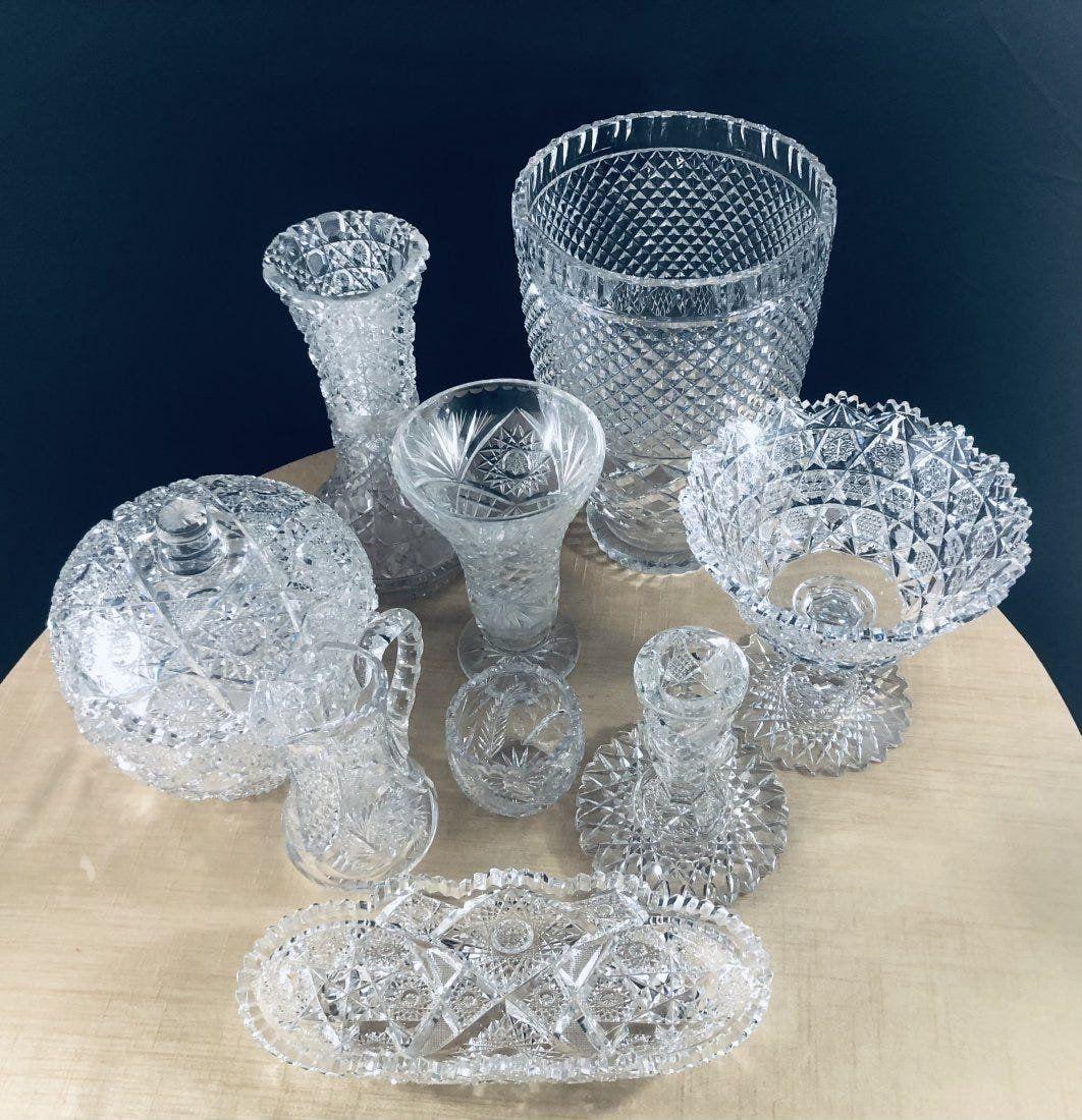 Vintage Quality Hand Cut Crystal Set of 9 pcs