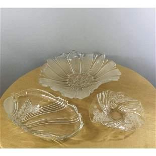 Vintage Crystal Hand Cut Platter, a Set of 3