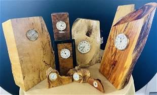 Set of 8 custom hand carved wood table clocks