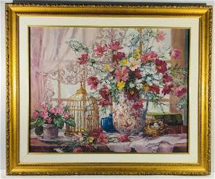 Still Life flowers and bird cage Print framed