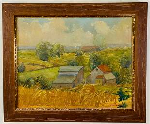 Oil on Board Landscape Painting Signed O.Erickson