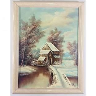 K. Bernath Outdoor Snow Scene Oil on Canvas Painting