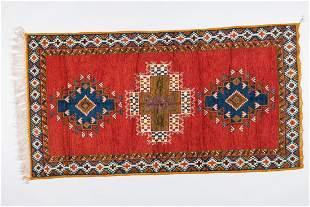 Tribal Moroccan Wool Red Rug or Carpet