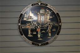 Chinese Lacquered and inlayed wall plaque