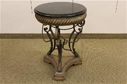 Marble Top Occaisonal Table on Molded Iron Base