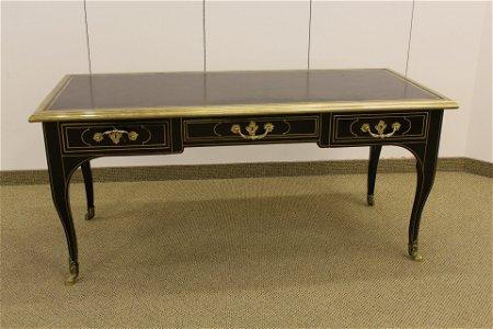 Baker Louis XV Style Brass Mounted Ebonized Desk
